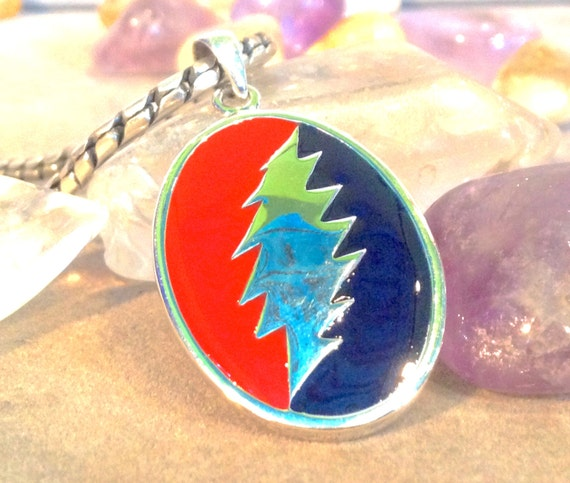 Grateful Dead Lightning Bolt Pendant / Steal Your Face.  Hand Cast from Sterling Silver, Hand Painted!!