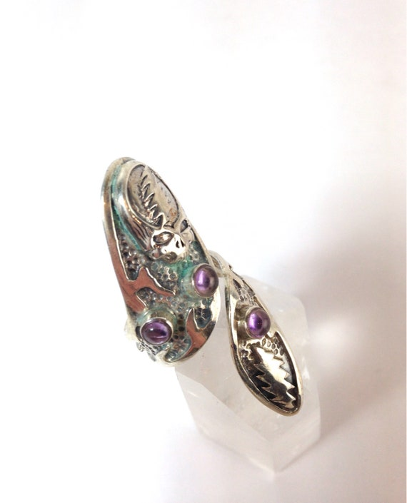 Grateful Dead Steal Your Face Adjustable Ring. Sterling Silver!  One of a Kind w Amethyst Furthur Phish Dead and Co JRAD
