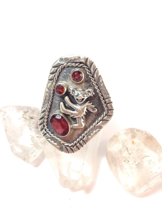 Grateful Dead Dancing Bear  Adjustable Ring. Sterling Silver!  One of a Kind w Garnet Furthur Phish Dead and Co JRAD