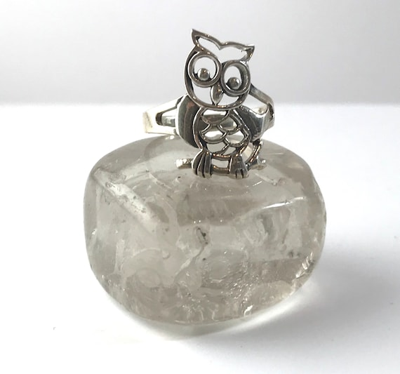 Owl Perched on a Tree Branch Ring in Sterling Silver Hand Cast