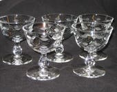 Vintage Vienna crystal tall sherbet glasses by Libbey Glass, set of 5 discontinued 3003 FREE SHIPPING
