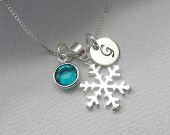 Personalized Necklace, Personalized Snowflake Necklace, Custom Necklace, Birthstone Necklace, Christmas Necklace, Silver Snowflake Necklace