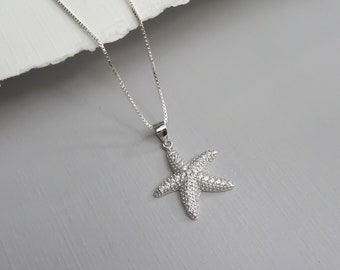 STERLING SILVER Starfish Sea Star Starfish Pendant Necklace Chain Optional