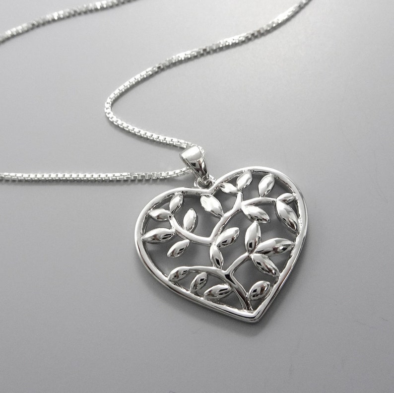 d992a1484624e Tree of Life Necklace Heart Necklace Sterling Silver Heart