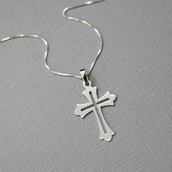 7494b38817b8 Sterling Silver Cross Necklace Godmother Gift Christening