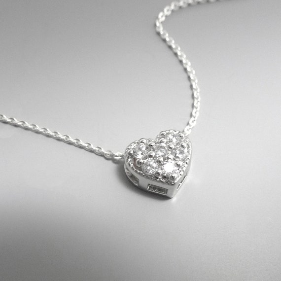 Open Heart Necklace Dainty Heart Choker Small Heart Necklace Dainty Heart Necklace Floating Diamond Necklace Girlfriend Gift