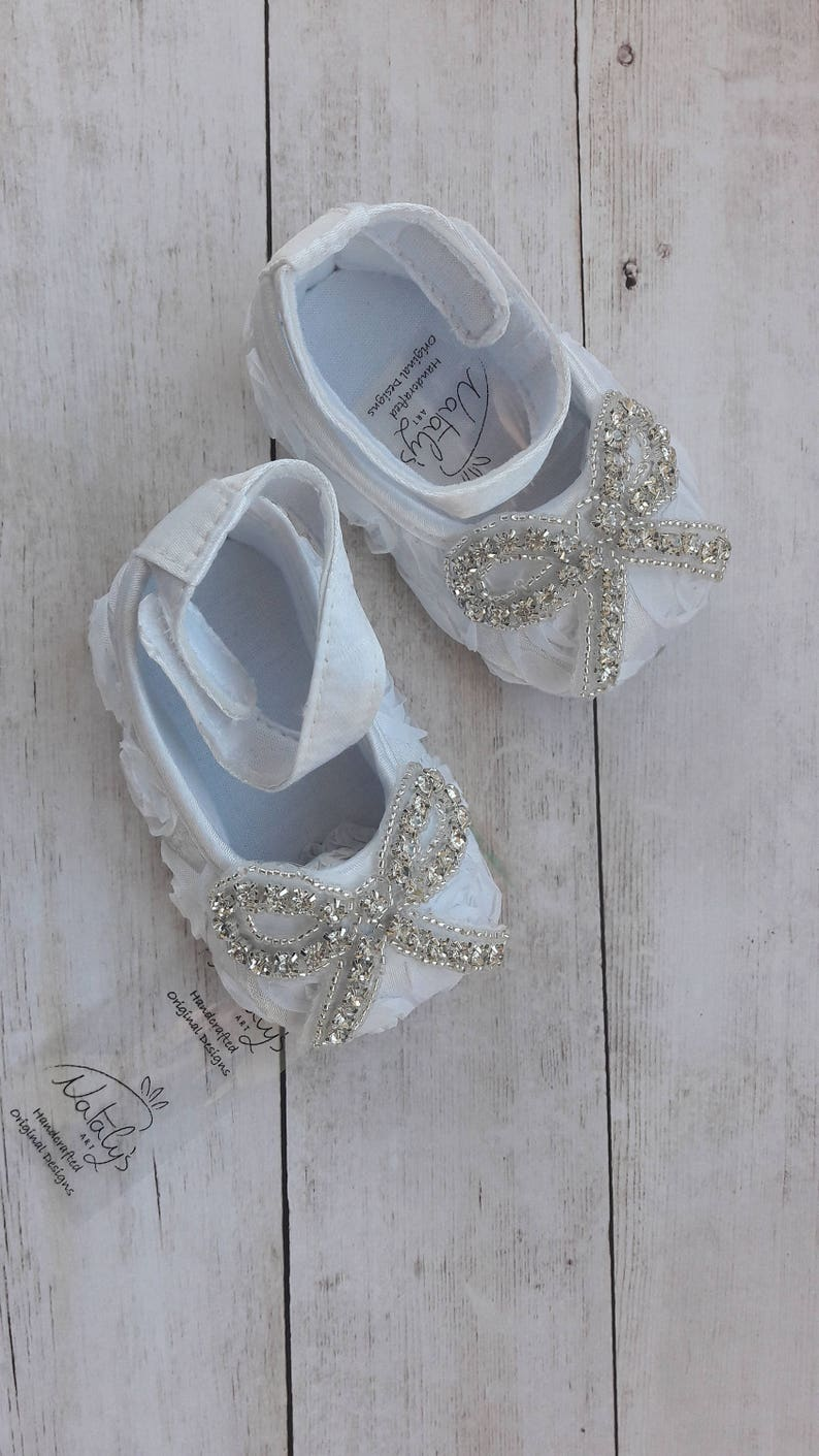 4881a9be4f5 White or Ivory Satin baby shoes White ballerina shoes Wedding | Etsy
