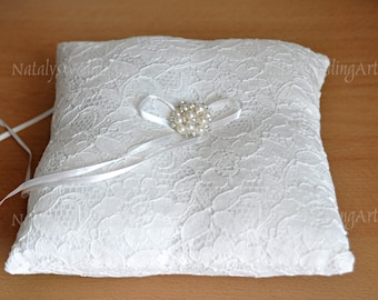 Lace ring pillow Lace Ring Bearer Cushion Ring pillow Ivory with crystal brooch Made from Ivory French lace