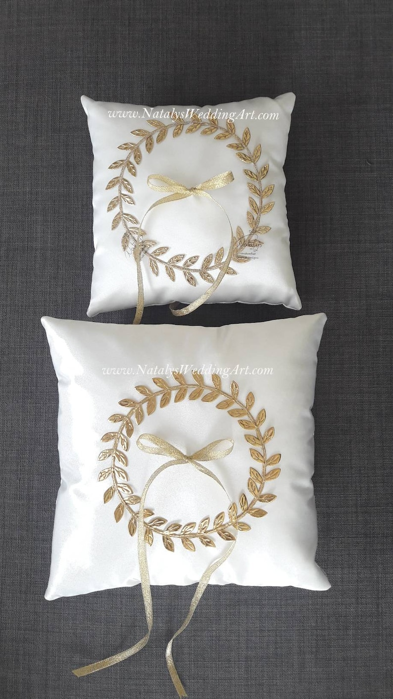 Ring Bearer cushion Ring Cushion Gold Cushion White or Ivory ring pillow Gold or Silver leaves Woodland Rustic Cottage Wedding size 6or 10