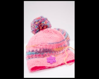 f2685e98a8a Sugar Mountain Big Pompom Pink Big Button Knit Beanie Preschool