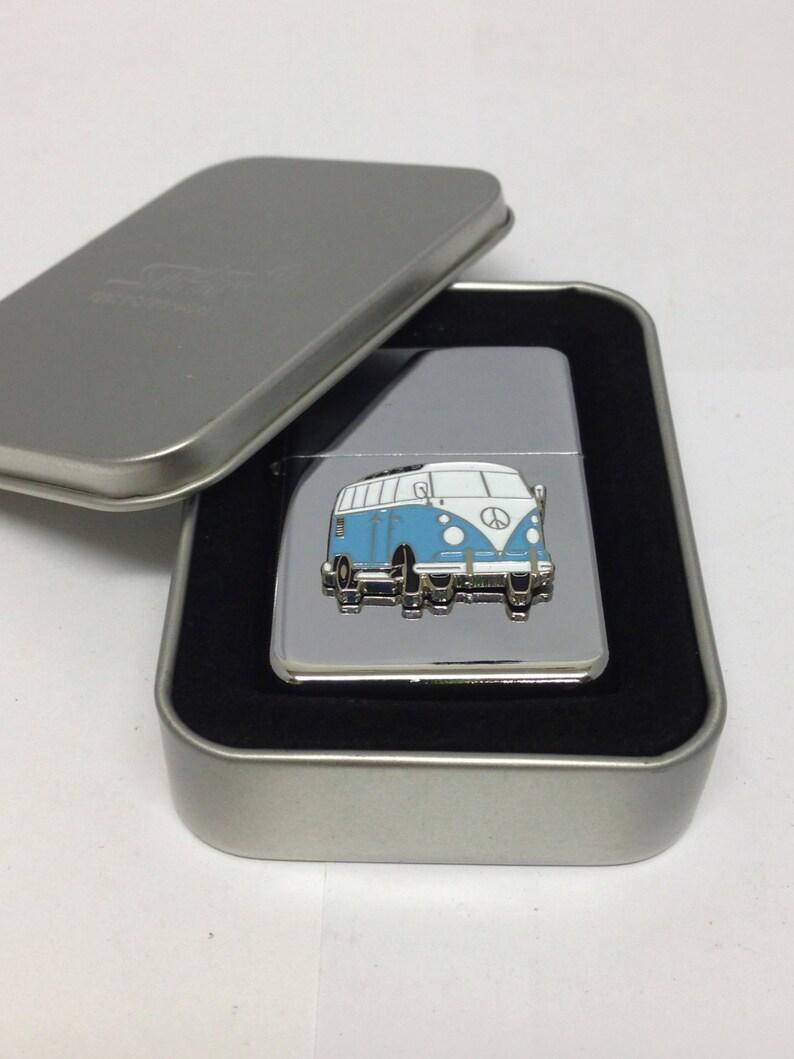 Gift Boxed Wedding Enamel Pale Blue VW Camper Van Cufflinks and Tie Clip Set