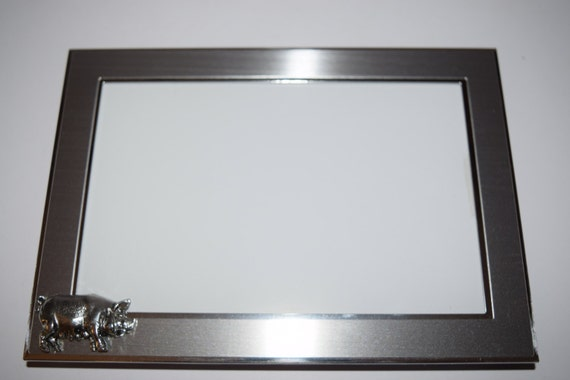 Pig Picture Frame Silver Chrome with Pewter Pig Portrait or ...