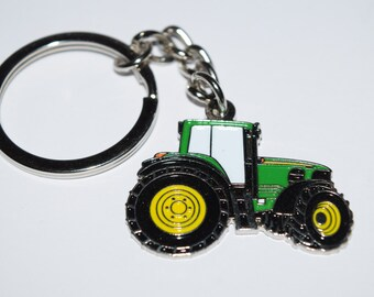 Green Tractor Keyring - Enamel keyring/keychain in the shape of a tractor farming gift
