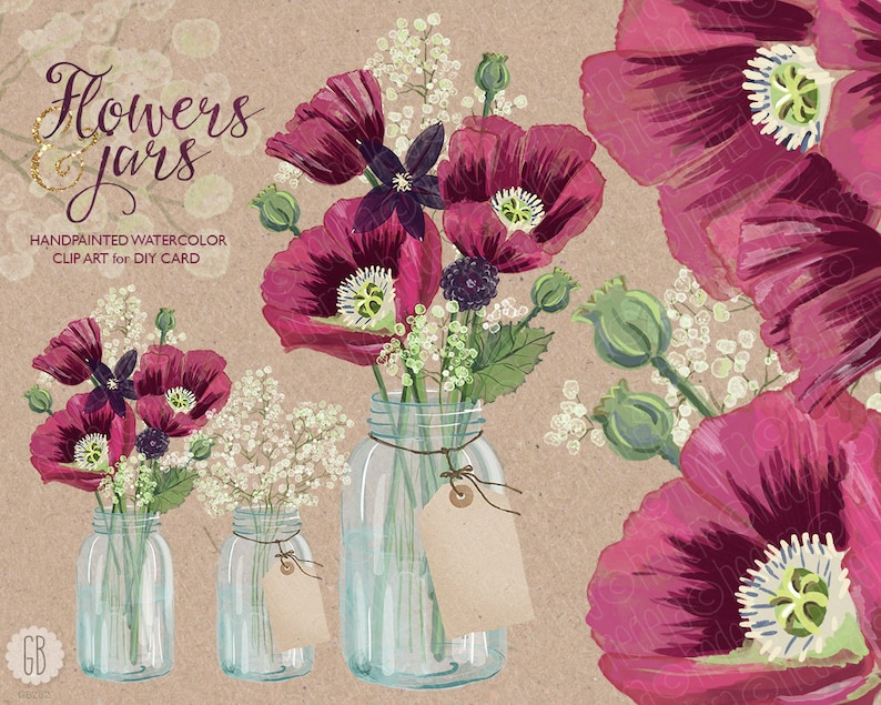 d902a9404c71 Watercolor poppies mason jar baby breath clematis fuchsia