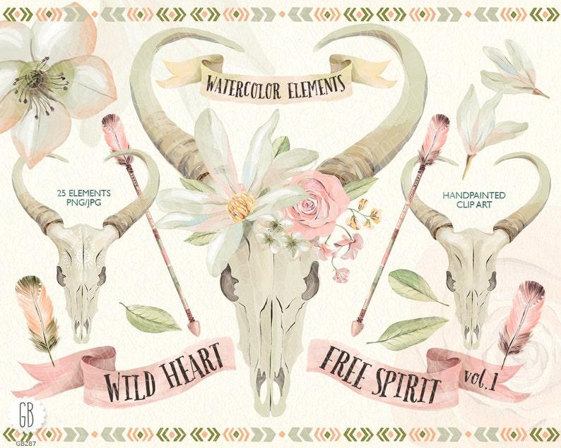 4b7c5547dbd Watercolor magnolia bull skull rose arrows feathers