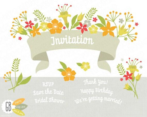 Folk flowers invitation ribbon vector clip art card label stopboris Gallery