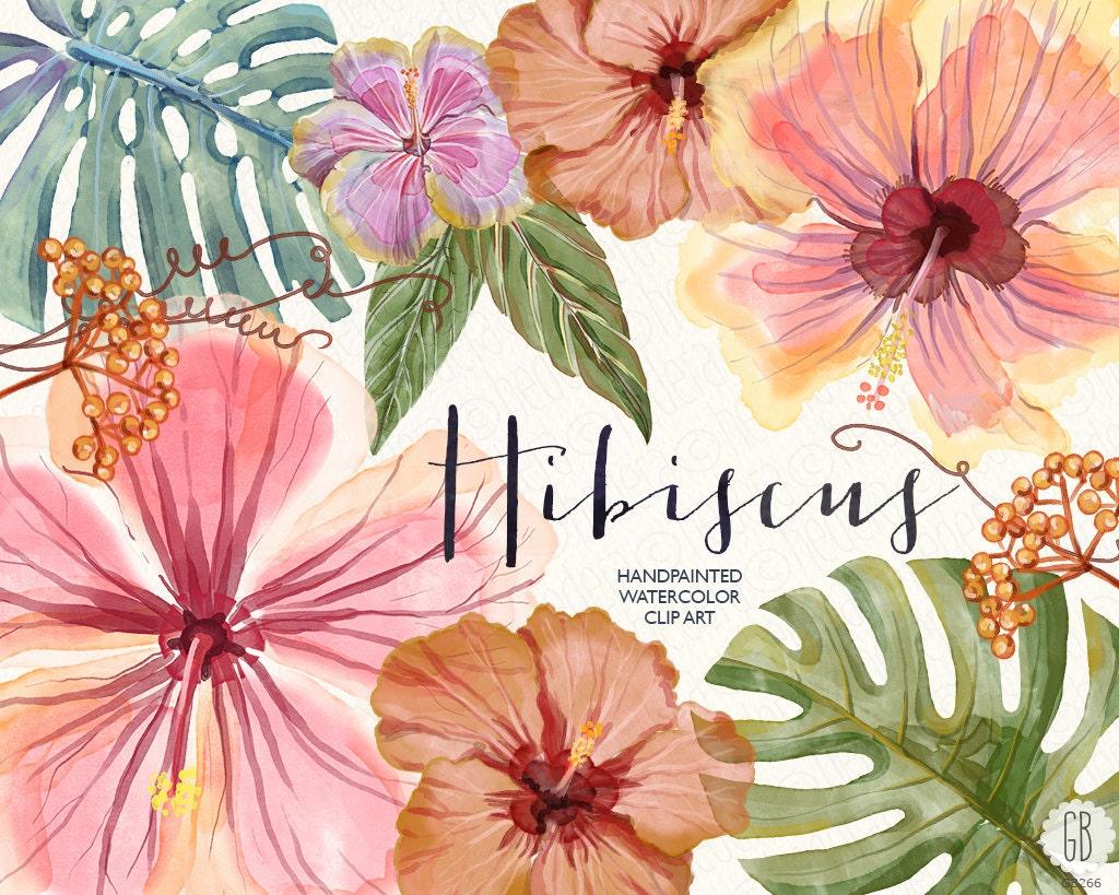 Watercolor hibiscus flower tropical leaves jungle plants etsy image 0 izmirmasajfo