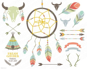 DreamCatcher, teepee, feathers, crossed arrows, tribal clipart, antlers, skull, buffalo, vector, clip art, party stationery, scrapbooking