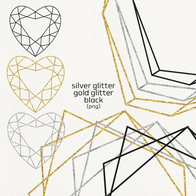 Geometric Frames Shapes Geometry Clip Art Glitter Gold Silver
