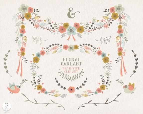 Flower Borders Frames Floral Garland Laurels Ribbons Clip Etsy