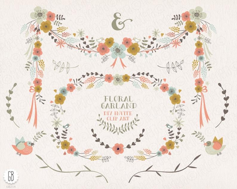 ed80909d1eb1 Flower borders frames floral garland laurels ribbons clip