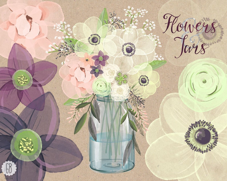 c76df33925e5 Watercolor mason jar baby breath anemone cream rose