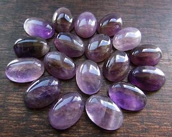 2pcs Natural Amethyst Cabochon 10 x 14 mm Purple Gemstone Cabochon Natural Oval Stone Flat Back Jewelry/Craft  Supplies