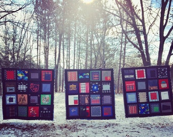 """Deposit ONLY! Heirloom """"Journey"""" quilt made from your personal collection of clothing/t-shirts. T-shirt quilt."""