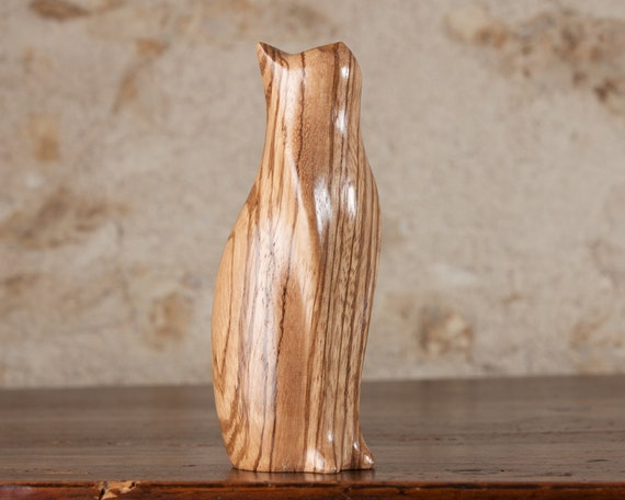 Tall Cat Figurine Sculpture Carving, Zebrano Wood Zebrawood by Perry Lancaster, Authentic Original Design, Wooden Cat