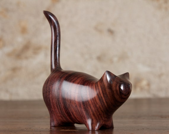 Chunky Wooden Martha Cat Sculpture, Hand Carved From Dark Indian Rosewood by Perry Lancaster