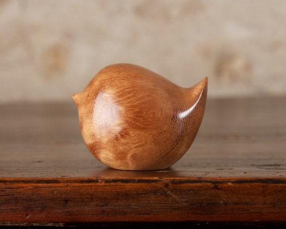 Fat Round Wooden Wren, Hand Carved Bird Figurine Pomelle Sapele Wood Sculpture by Perry Lancaster, Handmade Artisan Craft