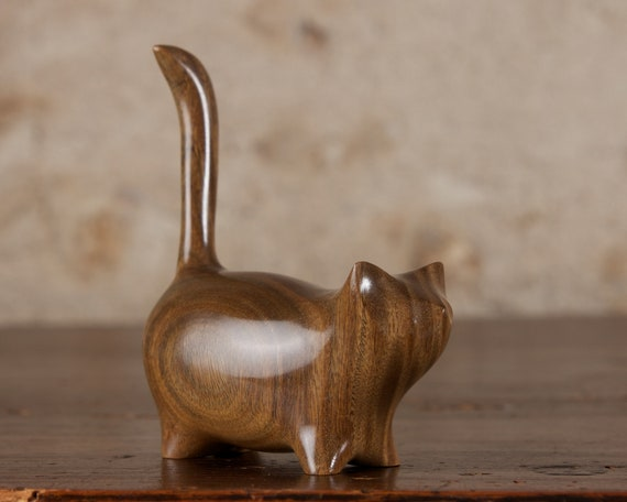 Wooden Cat Sculpture, Martha Cat Carved From Lignum Vitae Palo Santo Wood by Perry Lancaster, Genuine and Original Handmade Craft Design