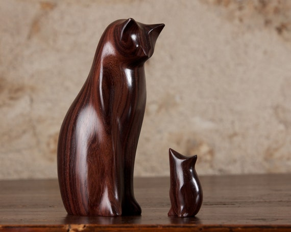 Cat and Mouse Carved From Indian Rosewood by Perry Lancaster, Wooden Cat Statue Cat Figurine, Original Handmade Cat Authentic PJL Design