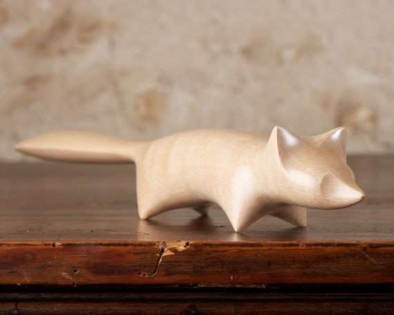 Arctic Fox Sculpture Hand Carved From British Sycamore Wood by Perry Lancaster, Handmade Stylised White Fox Carving Design Letter Knife