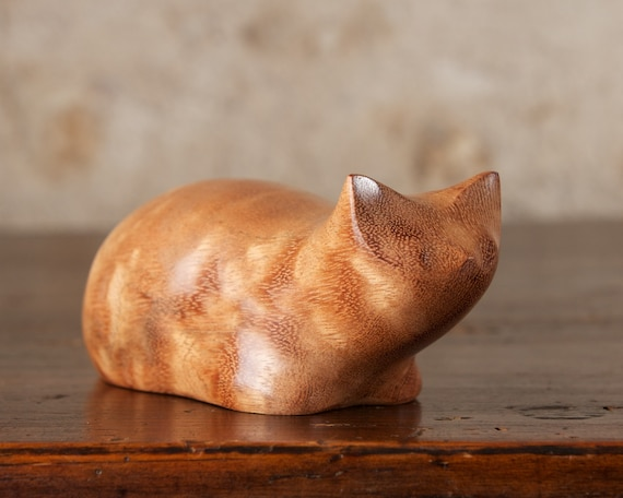 Ginger Crouching Cat Sculpture Carved From Curly Moabi Wood by Perry Lancaster, Wooden Tabby Cat Figurine Statue