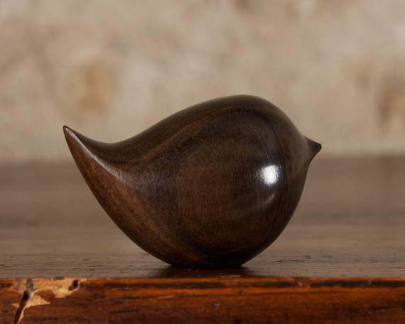 Small Black Bird Sculpture, Fat Round Wren Carving Figurine Hand Carved From Ebony Wood by Perry Lancaster, Artisan Craft