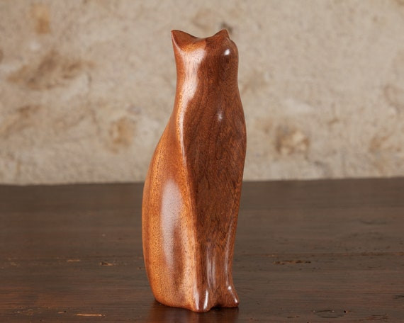Ginger Sitting Tall Cat Carved From Golden Brown Khaya Mahogany Wood by Perry Lancaster, Wooden Cat Sculpture Statue Figurine