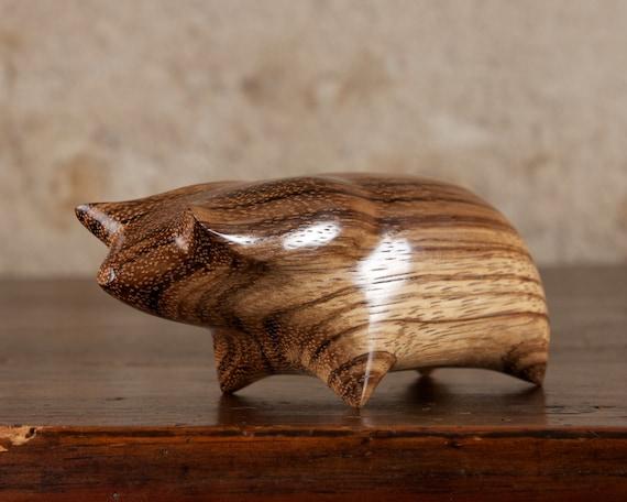 Wooden Pig Sculpture Carved From Zebrano Zebra Wood by Perry Lancaster, Original Piggy Design Figurine