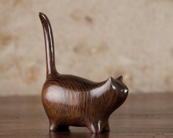 Small Black Cat, Wooden Martha Sculpture Carved From Ancient Old English Bog Oak by Perry Lancaster, Cat Figurine Statue
