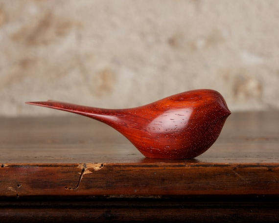 Wooden Bird Hand Carved from Padauk Wood Perry Lancaster