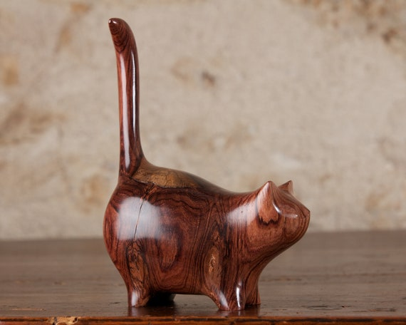 Chubby Wooden Martha Cat Carved from Honduras Honduran Rosewood by Perry Lancaster, Dark Wooden Cat Sculpture Figurine Carving
