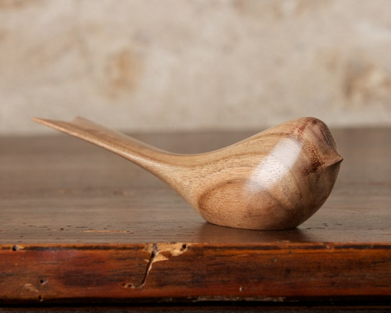 Small Wooden Bird Sculpture Figurine Ornament Carved From French Walnut by Perry Lancaster, Classic Swallow Long Tailed Tit Design