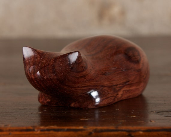 Stripy Crouching Cat Hand Carved From Honduras Rosewood Wood by Perry Lancaster, Cat Sculpture, Wooden Cat Figurine