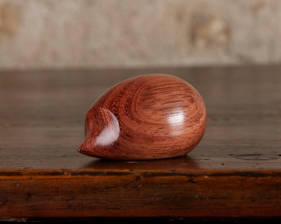 Small Wooden Hedgehog Sculpture Hand Carved from Bubinga Wood by Perry Lancaster, Small Tactile Hedgehog Figurine