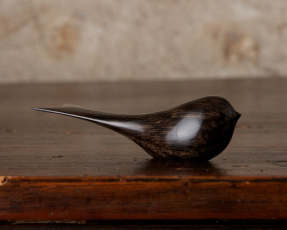 Small Black Bird Sculpture Carved from African Ebony by Perry Lancaster, Long Tailed Tit Swallow Carving Figurine