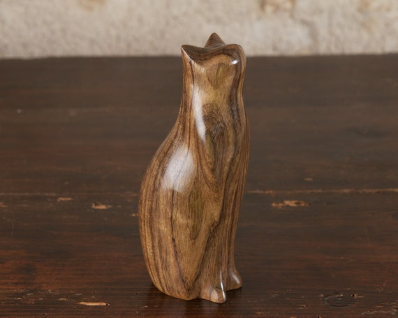 Tall Sitting Cat Sculpture Hand Carved From Amazaque Ovangkol Wood by Perry Lancaster