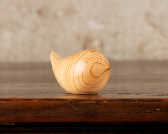 Small Wooden Round Wren Sculpture Bird Hand Carved From Yew Wood by Perry Lancaster