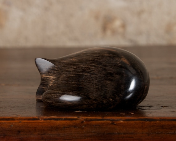 Sleeping Black Cat Carved From Solid African Ebony Wood by Perry Lancaster, Handmade Curled Cat Tactile Sculpture Genuine Ebony
