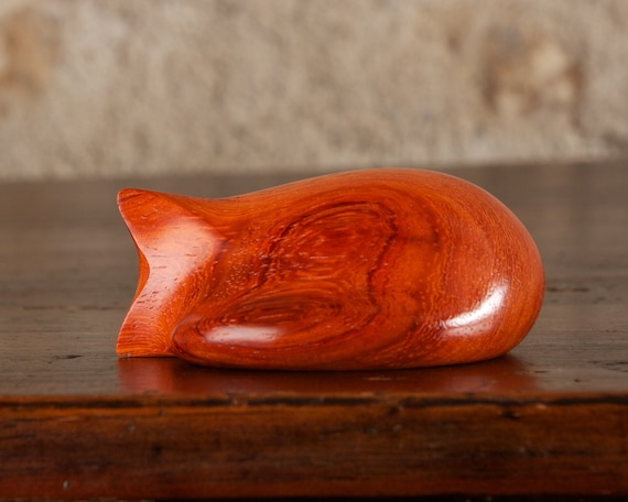 Curled Sleeping Cat Sculpture, Wooden Cat Figurine Hand Carved From Padauk Wood by Perry Lancaster, Tactile Soothing Stress Relief