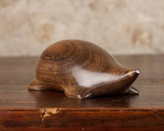 Wooden Mole Sculpture Hand Carved from Amazaque Ovangkol Wood by Perry Lancaster